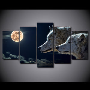 HD Printed 5 Piece Canvas Art White Wolf Moon Night Painting Modular Wall Pictures for Living Room Modern Free Shipping CU-2256B