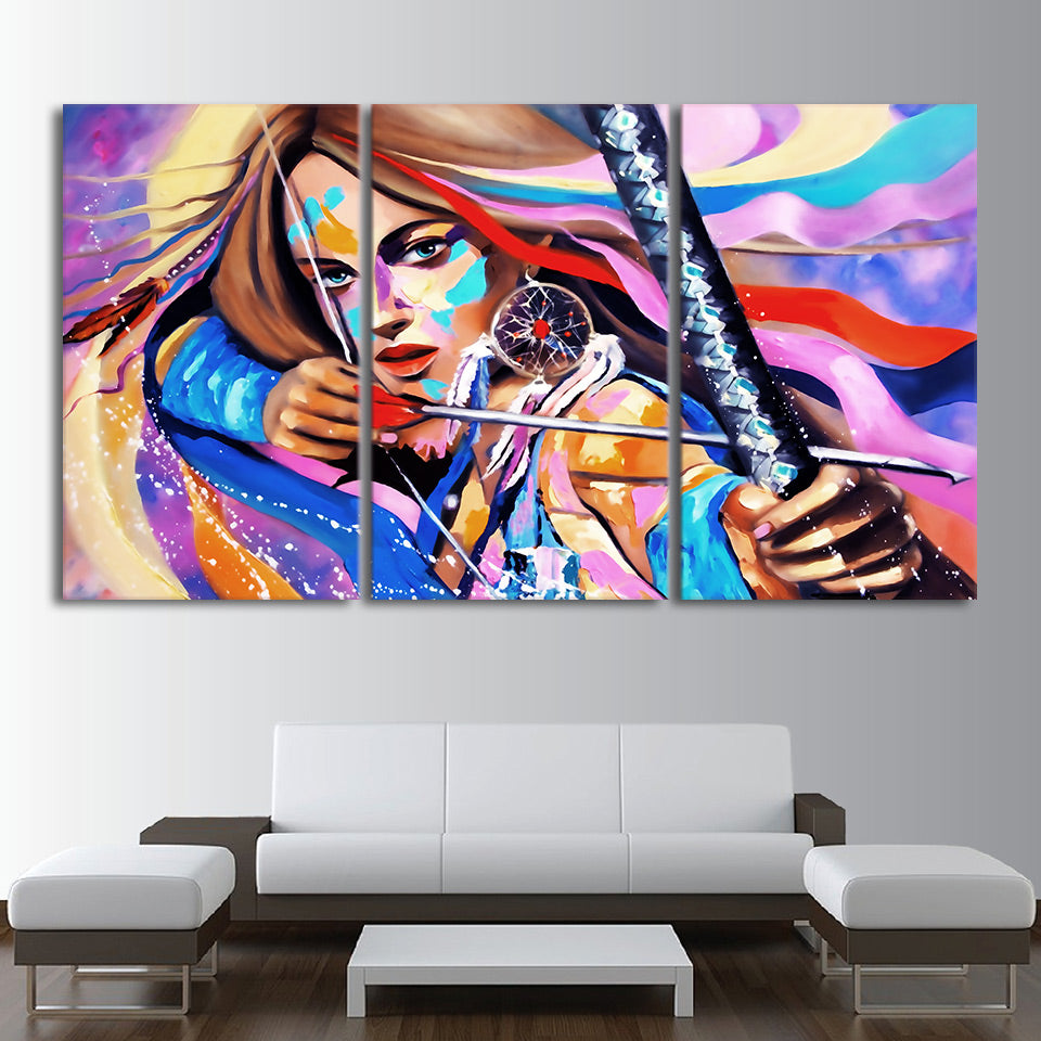 HD printed 3 piece canvas art native American Warrior dream catcher painting living room wall art free shipping/CU-2309C