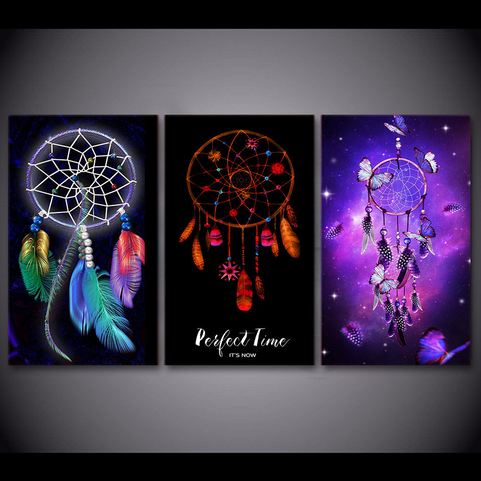 HD printed 3 piece canvas art Dreamcatcher  painting Modular Framed posters wall pictures for living room Free shipping NY-7166B