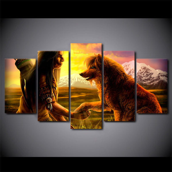 HD Printed 5 Piece Canvas Art Abstract The Indian Painting Modular Wolf Wall Pictures for Living Room Free Shipping NY-7170B
