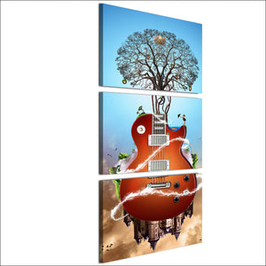 HD Printed 3 Piece Canvas Art Music Guitar Painting Abstract Tree Wall Pictures for Living Room Free Shipping NY-7025B