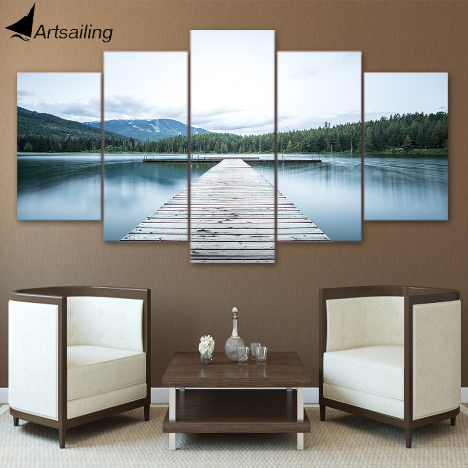 HD Printed 5 Piece Canvas Art Lake Bridge Painting Forest Landscape Canvas Prints Decoration Picture Free Shipping NY-7008C