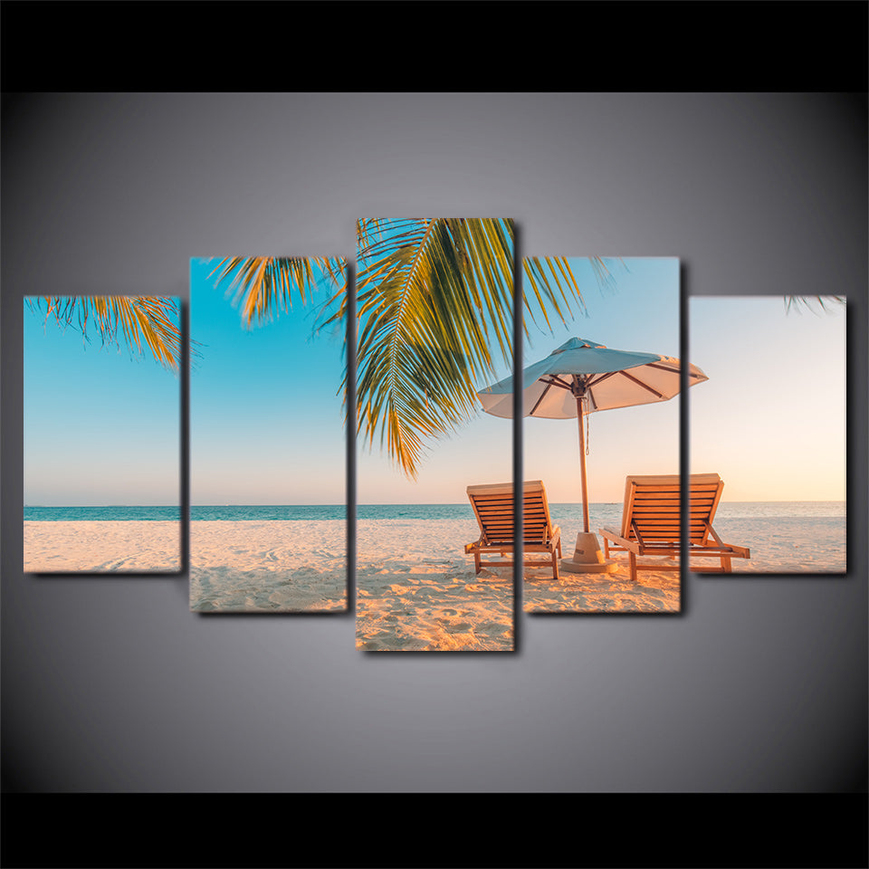 HD Printed 5 Piece Canvas Art Summer Beach Painting Seascape Wall Pictures Decor Framed Painting Free Shipping CU-2402C