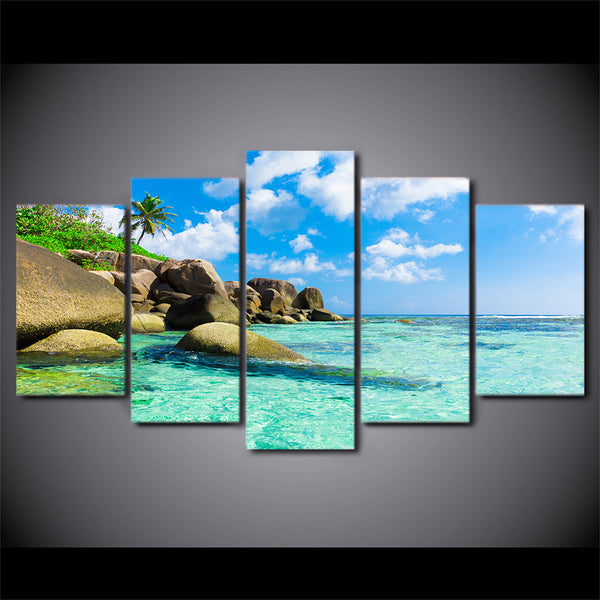 wall art canvas painting 5 piece HD print Seascape posters and prints framed modular Seaside canvas art home decor CU-2182B