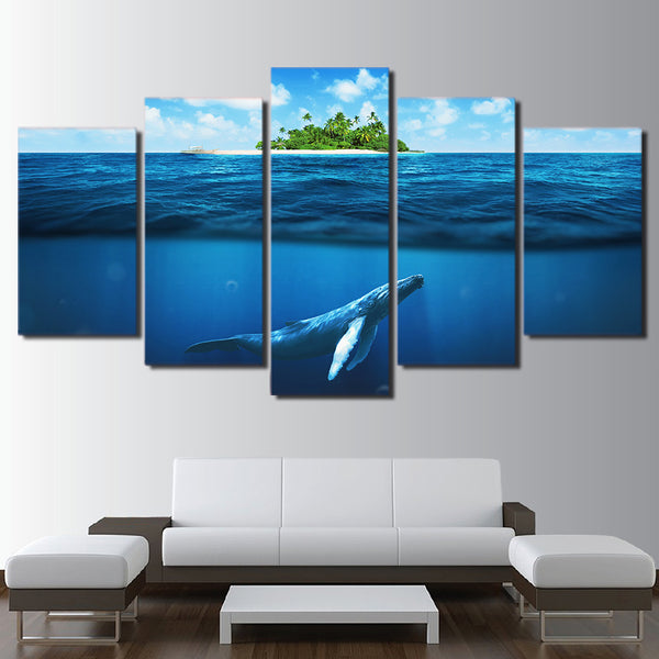 HD printed 5 piece Canvas Art Blue Deep Ocean Swimming Fish Painting Wall Picture Decorations Living Room Free Shipping CU-2272C