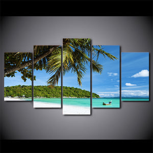 HD Printed 5 Piece Canvas Art Tropical Island Painting Modular Wall Pictures for Living Room Home Decor Free Shipping CU-2342B