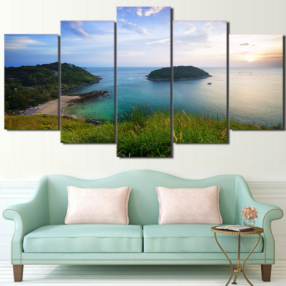 HD Printed 5 Piece Canvas Art Green Island Landscape Painting Wall Pictures Modular Framed Painting Free Shipping CU-2341C