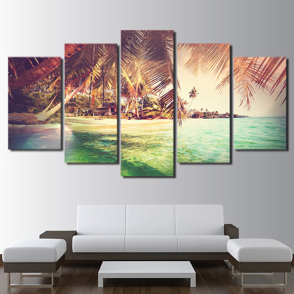 wall art canvas painting 5 piece HD print Island posters and prints framed modular Palm trees canvas art home decor CU-2186B