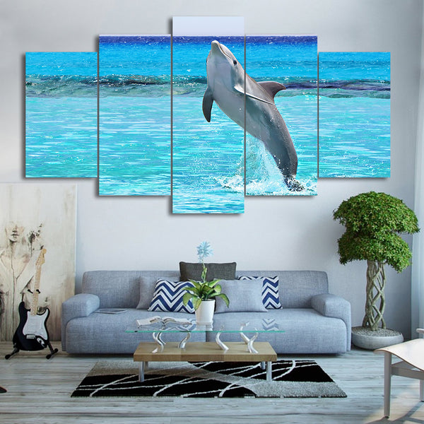 HD printed 5 piece Canvas Art Blue Deep Pool Jumping Dolphin Painting Wall Decorations Living Room Free Shipping CU-2271B