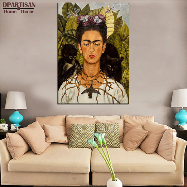DPARTISAN Naive Art Original Self Portrait with Thorn Necklace and Hummingbird c 1940 GICLEE  poster print on canvas NO FRAME
