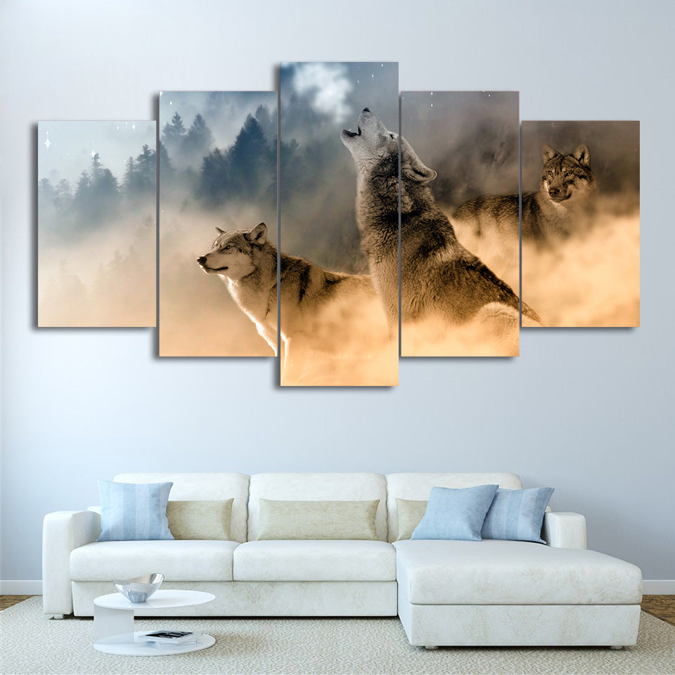 HD Printed 5 Piece Canvas Art Howling Wolf in Clouds Painting Modular Wall Pictures for Living Room Free Shipping NY-7171B