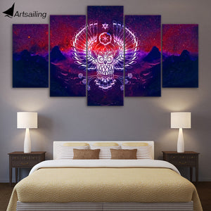 HD Printed 5 Piece Canvas Art Abstract Owl Painting Modular Psychedelic Wall Pictures for Living Room Free Shipping NY-7169B