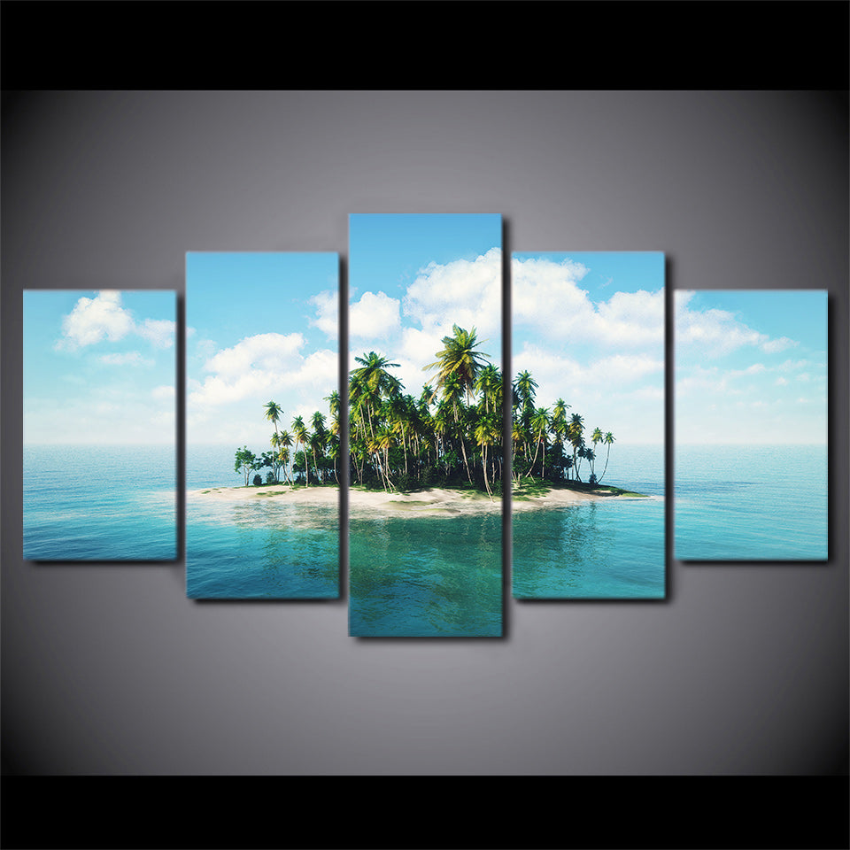 5 piece HD print wall art canvas painting tropical island posters and prints Coconut Grove home decor free shipping CU-2470B