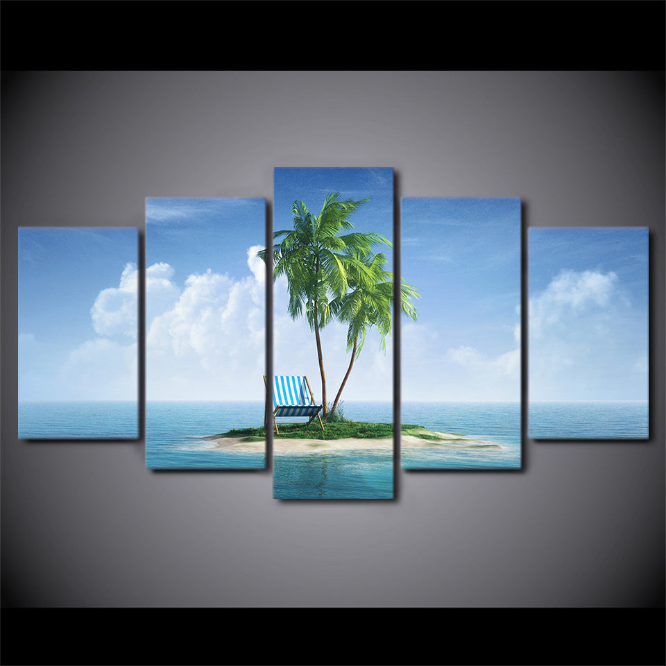 5 piece HD print wall art canvas painting tropical island posters and prints Coconut Grove home decor free shipping CU-2472B