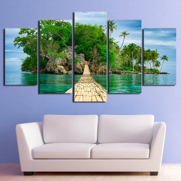 HD Printed 5 Piece Canvas Art Green Island Painting Wooden Bridge Wall Pictures Decor Framed Painting Free Shipping CU-2473C