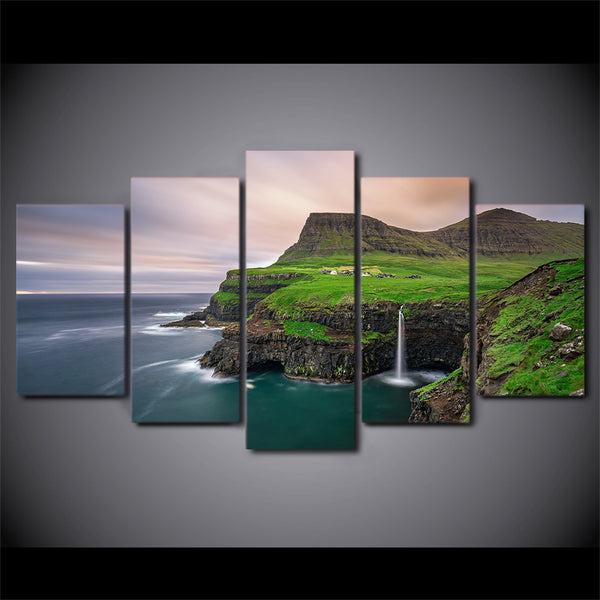 HD Printed 5 Piece Canvas Art Natural Sea Bay Painting Seascape Wall Pictures Decor Framed Painting Free Shipping CU-2474C