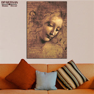 DPARTISAN LEONARDO DA VINCI FEMALE HEAD (LA SCAPIGLIATA), C.1508 giclee print CANVAS WALL ART PRINT ON CANVAS OIL PAINTING