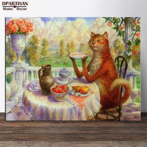 DPARTISAN  Vladimir Lou Myantsev and his cat -4 famous oil painting reproduction  Art Picture Paint on Canvas Prints Decoration