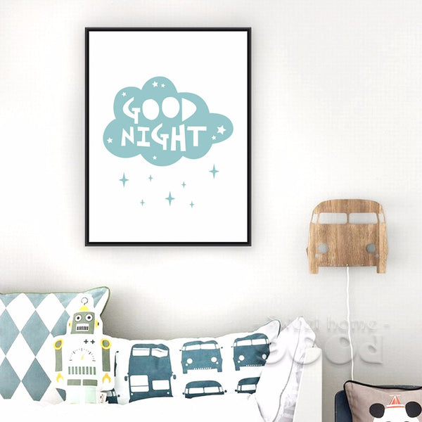 Cartoon Cloud Good Night Canvas Art Print, Wall Pictures for Child Room Decoration, Giclee Print Housing FA200
