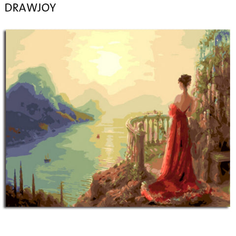 DRAWJOY Painting & Calligraphy Framed Picture Painting By Numbers Home Decor DIY Oil Painting On Canvas For Living Room GX5500