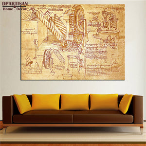 DPARTISAN Giclee poster and print invention By LEONARDO DA VINCI print Wall oil Painting picture on canvas for living room decor