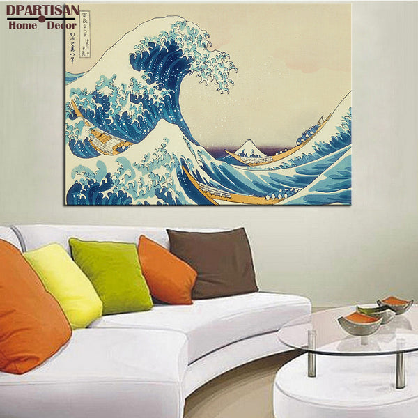DPARTISAN ART POSTER  katsushika hokusai The Great Wave at Kanagawa (from 36 views of Mount Fuji), c.1829 CANVAS print no frame
