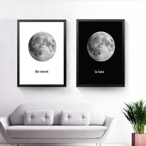 The Planet Canvas Art Print Poster, Black White Wall Picture for Home Decoration, Moon La Lune Print Art Wall Poster HD2208