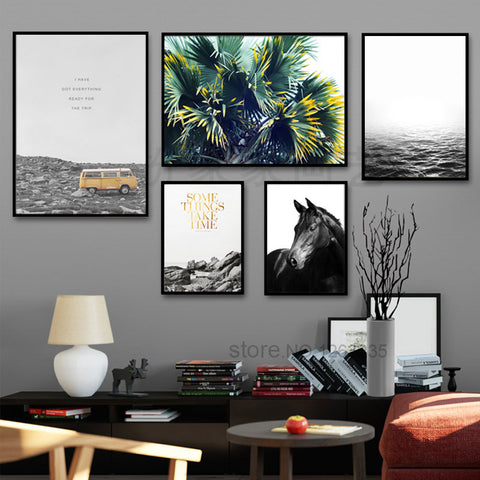 Nordic Decoration Posters And Prints  Leisurely Holiday Horse Wall Art Canvas Painting Wall Pictures For Living Room Unframed