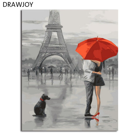 DRAWJOY Framed Landscape Painting & Calligraphy DIY Painting By Numbers Acrylic Canvas Paintings Home Decor GX5661 40*50cm