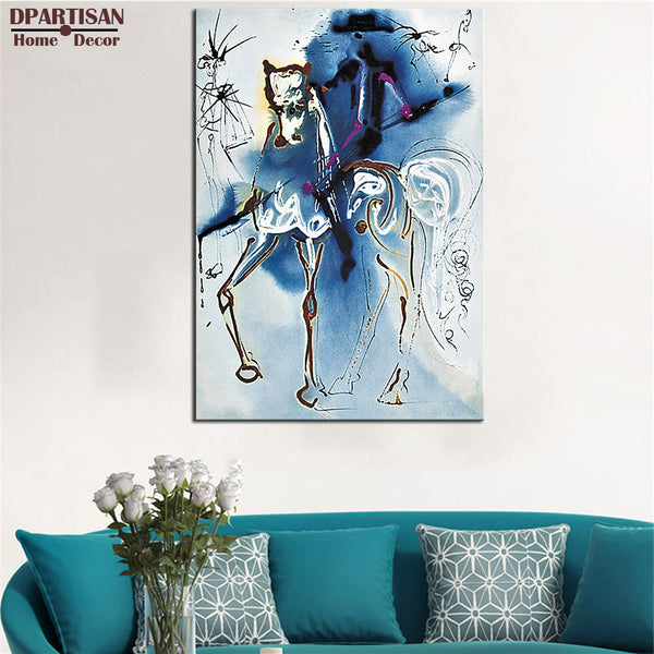 DPARTISAN Surrealism LE CHEVAL DE TRIOMPHE Signed Dalinean Horse PRINT ON CANVAS Wall painting no frame wall pictures art