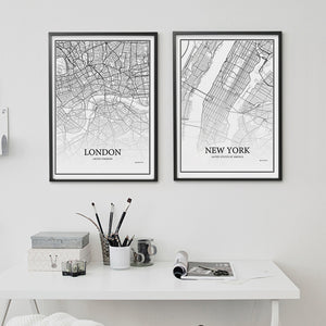 900D Posters And Prints Wall Art Canvas Painting Wall Pictures For Living Room Nordic Decoration City Grid Map YM008