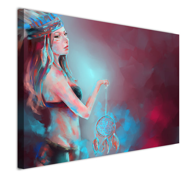 HD Print  1 Piece canvas painting abstract woman with dreamcatcher decor for living Room Free Shipping NY-7168C