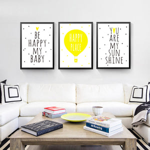 Yellow Color Canvas Painting Be Happy My Baby Wall Picture Modern Print Poster Room Decor HD2258