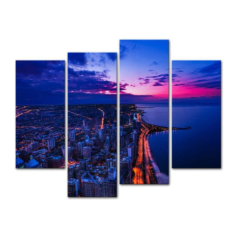 BANMU Chicago Skyline City Skyline At Michigan 4 Pieces Panel Paintings Modern Giclee Artwork The Picture For  Decoration