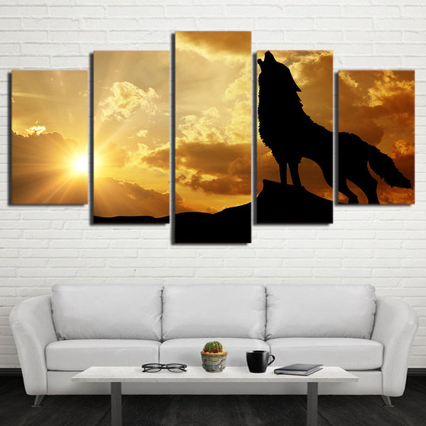 5 piece HD print Howling Wolf in Sunset canvas painting Framed posters and prints modular picture free shipping CU-2499C