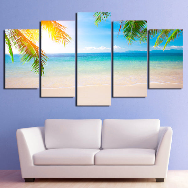 HD Printed 5 Piece Canvas Art Summer Beach Seascape Painting Modular Wall Pictures for Living Room Free Shipping CU-2403B
