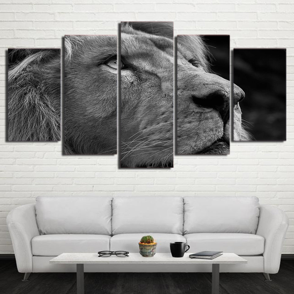 HD Printed 5 Piece Canvas Art Tiger Head Painting Gray Wall Pictures for Living Room Modern Free Shipping NY-7097A