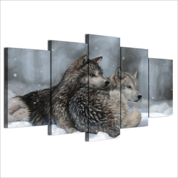HD Printed 5 Piece Canvas Art Snow Wolf Painting Framed Modular Wall Pictures for Living Room Home Decor Free Shipping NY-7102A