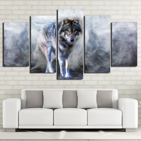 HD Printed 5 Piece Canvas Art Wolf Painting White Smoke Modular Wall Pictures for Living Room Modern Free Shipping CU-2428B
