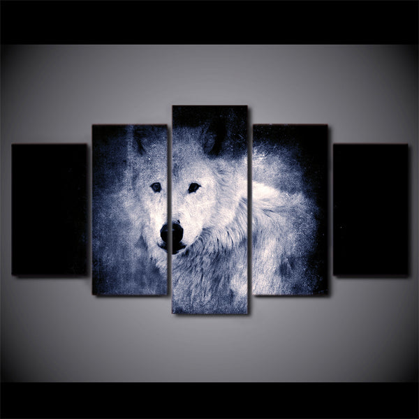 HD Printed 5 Piece Canvas Art White Wolf in Dark Painting Modular Poster Wall Pictures for Living Room Free Shipping CU-2297B