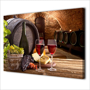 1 Pieces Grapes Wine Drink Canvas Paintings HD Printed Vintage Wall Art Modular Framed Canvas Kitchen Room Home Decor NY-7094C