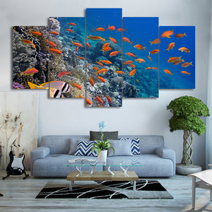 HD printed 5 piece canvas art tropical deep-sea fish wall pictures for living room modern free shipping CU-2516C