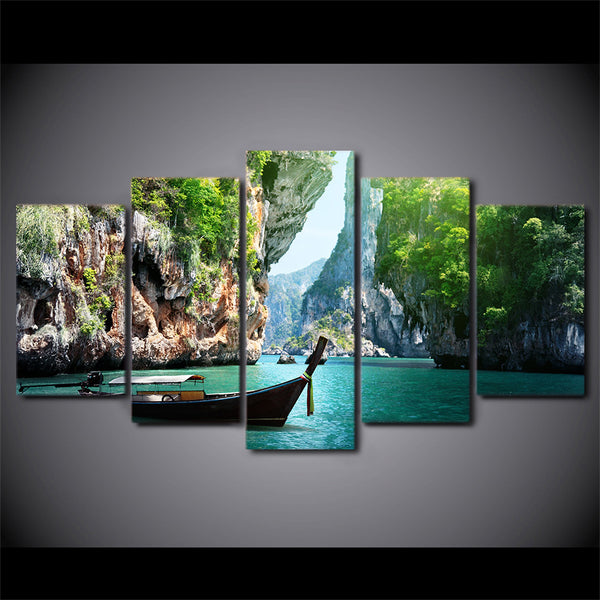 HD Printed 5 Piece Canvas Art Nature Canyon Landscape Painting Wall Pictures for Living Room Boat Poster Free Shipping CU-2534B