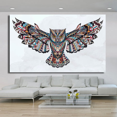 HDARTISAN Home Printed Fly the Wings of the Owl Modern Oil Painting on Canvas Prints Wall Art Pictures for Bedroom Living Room
