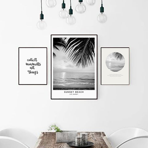 Beach Landscape Canvas Art Print Painting Poster, Nordic Style Wall Pictures for Home Decoration, Wall Decor BW003