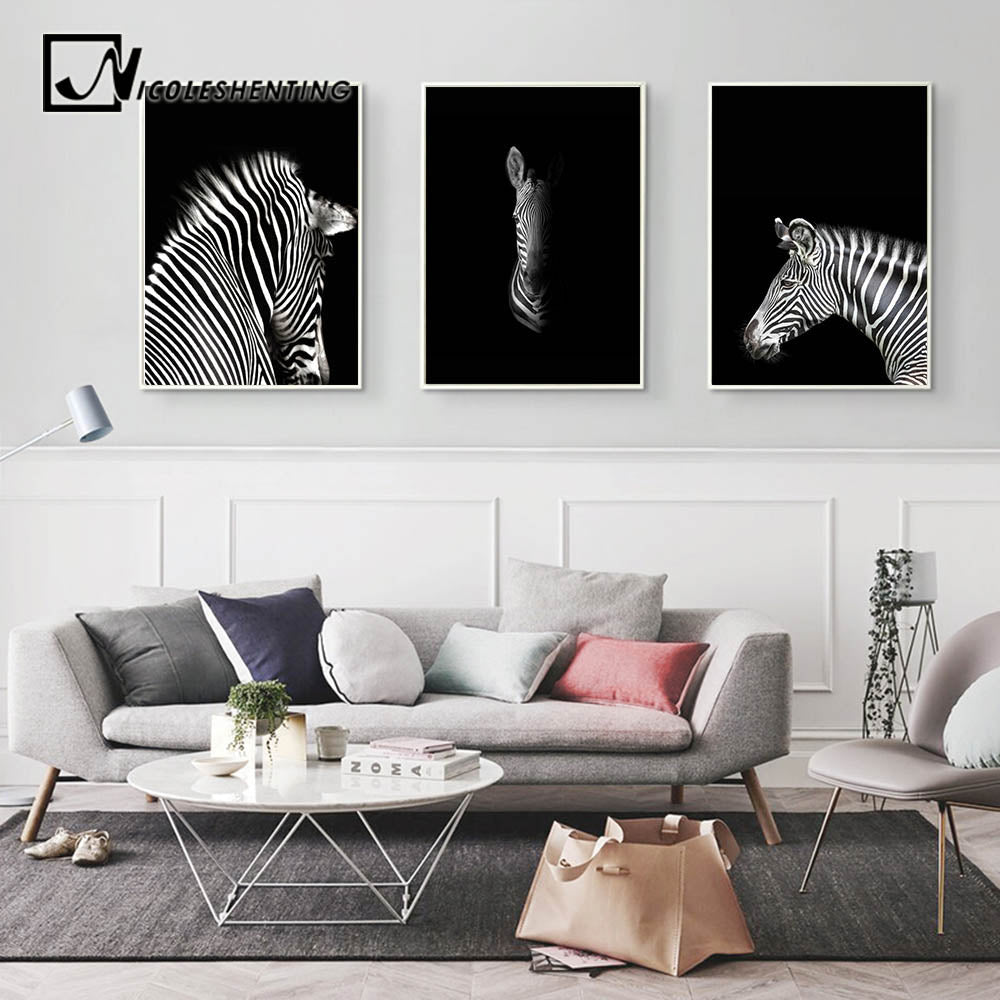 Black White Animal Zebra Wall Art Canvas Posters And Prints Minimalist Abstract Painting Wall Picture For Living Room Home Decor