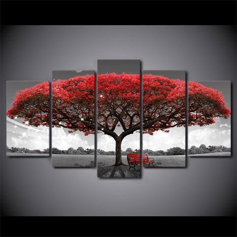 HD printed 5 piece canvas art Black and white Red tree painting wall pictures for living room modern free shipping CU-2572B