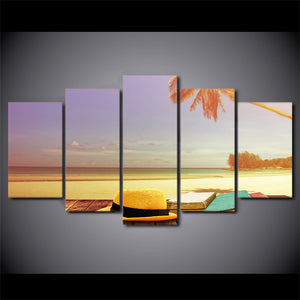HD Printed 5 Piece Canvas Art Sunset Seascape Painting Wall Pictures for Living Room Beach View Poster Free Shipping CU-2537B