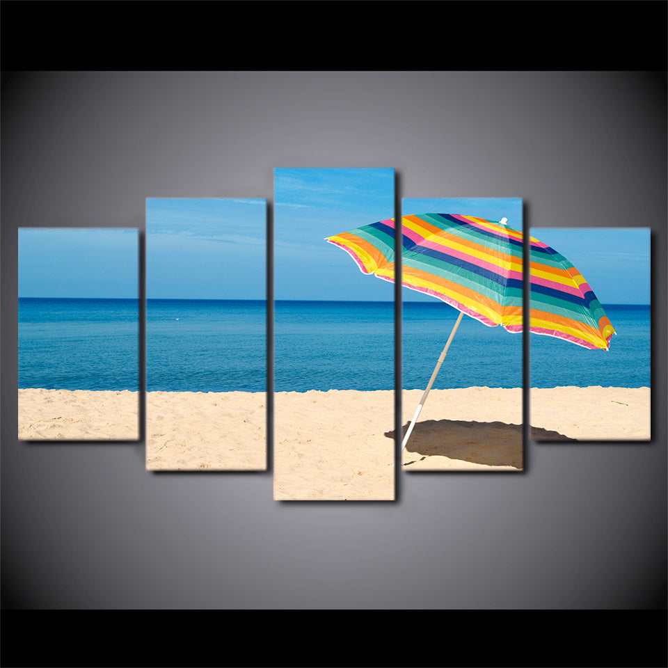 HD Printed 5 Piece Canvas Art Beach Painting Framed Sea Poster Wall Pictures for Living Room Home Deco Free Shipping CU-2404A
