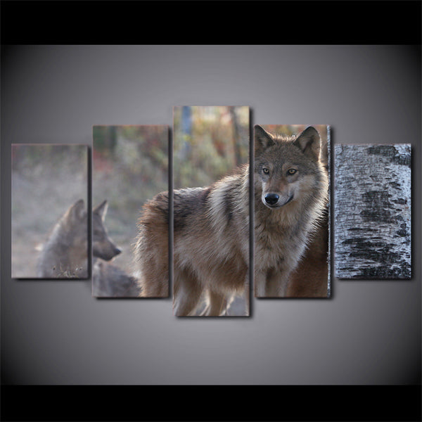 HD Printed 5 Piece Canvas Art Brown Wild Wolf Painting Modular Wall Pictures for Living Room Modern Free Shipping CU-2558B